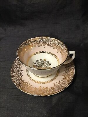 Vintage Cup & Saucer Pretty  Pink Gold Lustre Cabinet Royal Grafton  • 7.50£