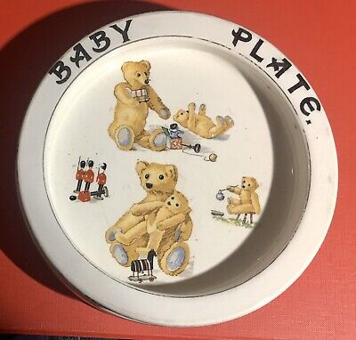 Rare Early Teddy Bear Heavy Antique English Pottery Baby Plate Ex Condition • 35£
