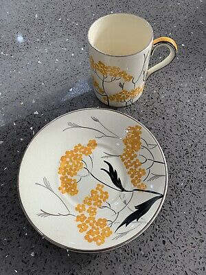 Gray's Pottery Art Deco 1934 Yellow & Silver Floral Coffee Can & Saucer Ex Cond  • 19.99£