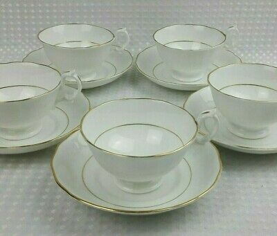 Antique Victorian 5x White Bone China Tea Cups & Saucers With Gold Gilt VGC • 38£