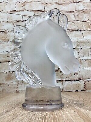Vintage Art Vannes Crystal Horse Head Glass Paperweight Frosted French Ornament • 19.99£