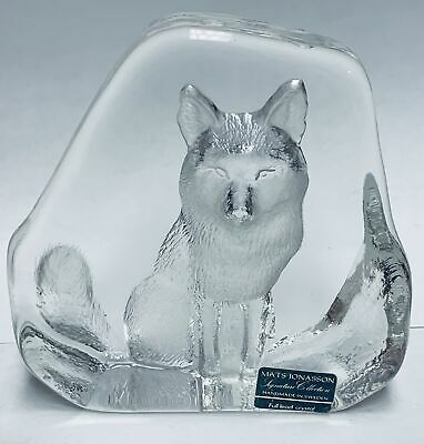 Mats Jonasson Wolf Signature Collection Full Lead Crystal Sweden Paperweight • 28.22£