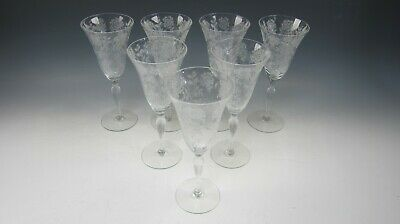 Lot Of 7 Tiffin Crystal CORONET Water Goblets EXCELLENT • 49.52£