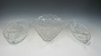 Lot Of 3 Fostoria Crystal AMERICAN CLEAR Serving Pieces Relish Dish+ Tricorne EX • 46.06£