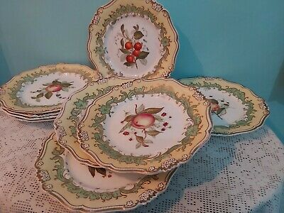 10 X Antique English Porcelain Hand Painted  Fruits Pattern Plates 9.0 Inches • 95£