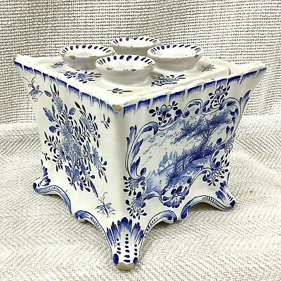 Antique French Faience Pottery Tulip Vase Planter Hand Painted Blue And White • 380£
