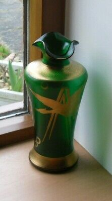 Art Nouveau Green Glass Vase With Gold Overlay - 7.5  Tall • 37.50£