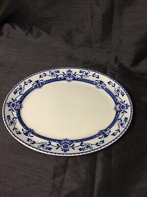 Antique Old Small Platter Oval Plate Blue White Floral  • 7.50£