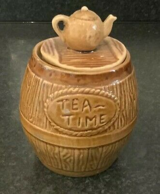 Lovely Vintage Brown Talke-oth-hill Tea Time Pottery Barrel With Teapot Lid • 6.50£