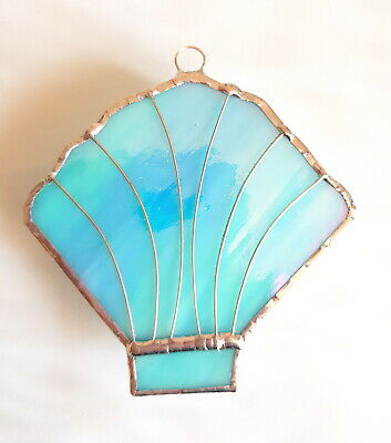 Turquoise Sea Shell Stained Glass Suncatcher Sailing Ocean Sealife Nautical Gift • 8.99£