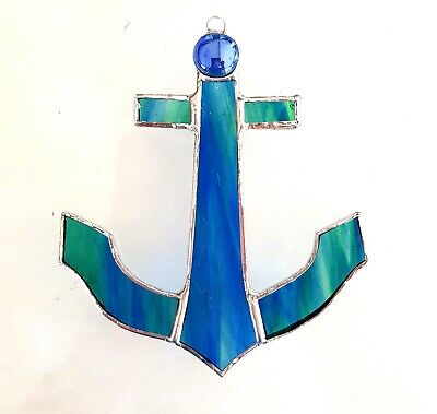 Boat Anchor Stained Glass Suncatcher Sailing Ocean Sealife Nautical Gift • 14.99£