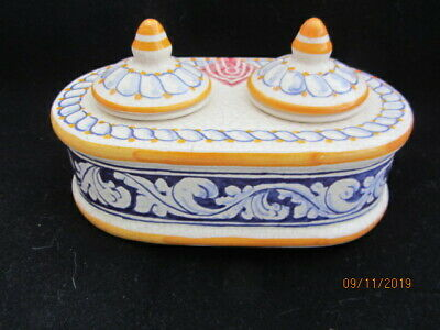 Antique French Pottery Double Inkwell • 25£