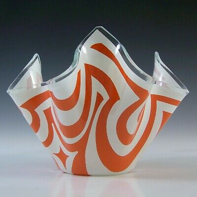 Chance Brothers Orange Glass 'Psychedelic' Vintage Handkerchief Vase • 40£