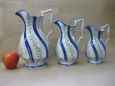 Set Of 3 Antique Graduated Dresser Jugs ~ Flow Blue ~ Gaudy Welsh Style • 62£