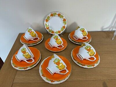 Vintage Retro Flower Power Fine Bone China Tea Set Trio X6 Royal Sutherland • 17.99£