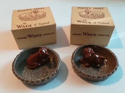 Wade Red Setter Puppy Puppies Dogs  Lying In Basket Dish Set Boxed • 10£