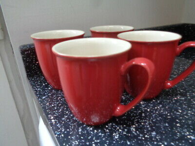 Denby Everyday Red Mugs X 4 • 30£