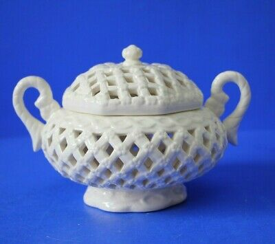 Creamware Pierced Basket Pot - Pourri Lidded Bowl  • 25£