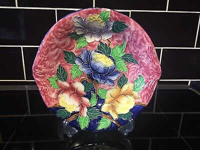 """Rare Vintage Maling Ware Pottery """"Peonies"""" Floral Hand Painted Eared Plate Dish • 50£"""