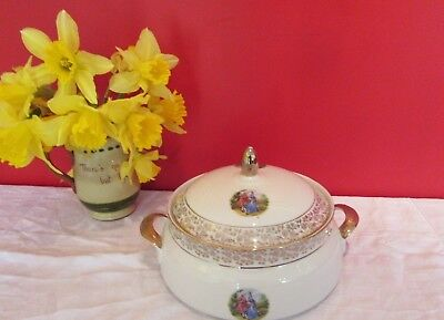 Stunning Vintage  China Courting Couple  Lidded Tureen Dish • 12£