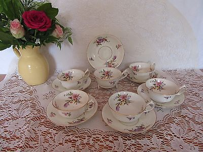 Stunning Antique  Bone China Tea Set  Footed/peony Shape Cups 12 Pieces • 40£