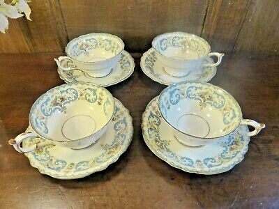 VINTAGE Paragon  QUEEN ANNE  SET Of 4 TEA CUPS And SAUCERS - Cups Crazed  • 23.95£