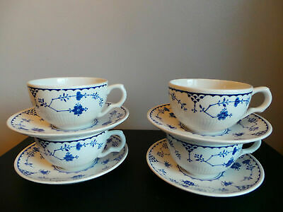 Mason's Blue Denmark Cups And Saucers X4 Furnivals • 18.99£