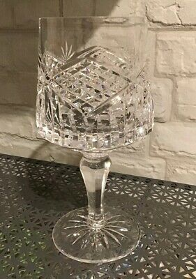 """Tyrone Crystal Wine Glass Slieve Donard Cut 7 """" Tall Signed Exc Con Large • 22£"""