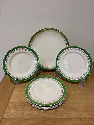 Vintage Alfred Meakin Ironstone Large Plate & Side Plates Green & Gold • 10£