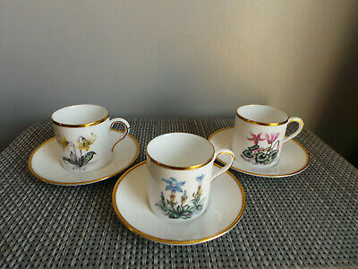 Royal Worcester Alpine Flowers Coffee Cans & Saucers X3 • 10.99£
