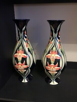 Old Tulton Ware Pair Vases Tropical Orchid Flower Deep Blue Vase Lovely • 39.95£