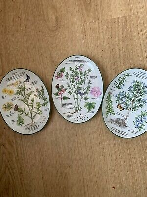Royal Worcester Herbs Oval Decorative Wall Plates X 3 • 19.95£