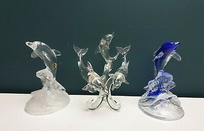 Cristal D'Arques Lead Glass Crystal Dolphin Ornament Figurines - 3 Types • 10.99£
