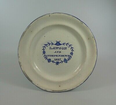 English Commemorative Election Plate, Dated 1827.Whitehaven Pottery.  • 390£