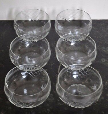Vintage Handcut Glass Dessert Bowls Six (6) Hand Blown English • 12.95£