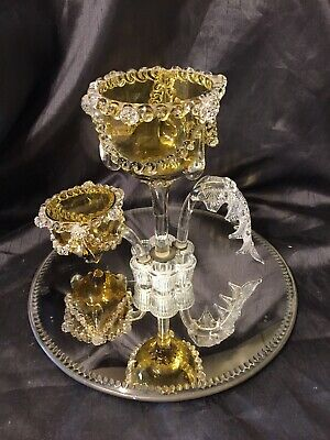 Vintage Old Decorative Glass Epergne On Mirror Stand  • 35£