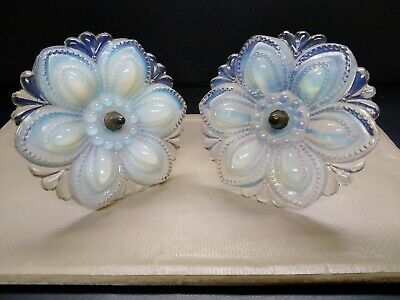 2 Antique Floral Rosettes Opalescent Opaline Glass 4.5  Round Very Decorative • 24.24£