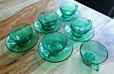Arcoroc French Vintage Green Glass Set Of 5 Coffee Cups And Saucers • 10£