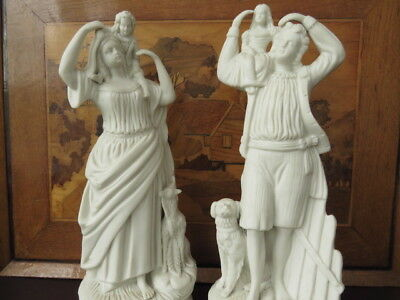 Pair Of Victorian Parian Ware Statues, Man And Woman Carrying Their Children • 129.99£