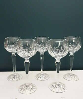 Clear Cut Glass Crystal Balloon Glasses Set Of 5 • 16.99£