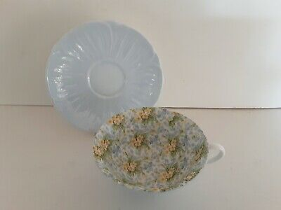 Shelley Art Deco Primrose Chintz Cup And Saucer On Oleander Shape • 16£