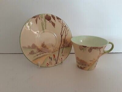Shelley Art Deco Rare Spring Pattern On Regent Shape Coffee Duo  • 13£