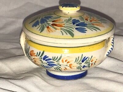Early HR Quimper Hand Painted Bowl And Cover  9027  • 22£