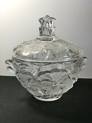 Walther-glas Clear & Frosted Glass Embossed Primrose Flowers Lidded Bon-bon Dish • 12.99£