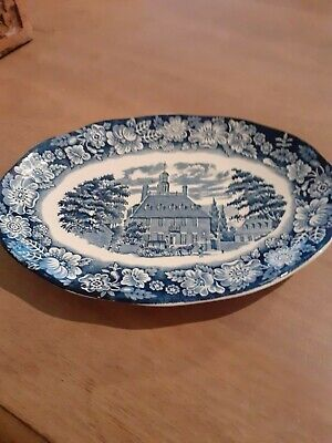 Liberty Blue Staffordshire Pottery 8  Oval Plate • 3.99£