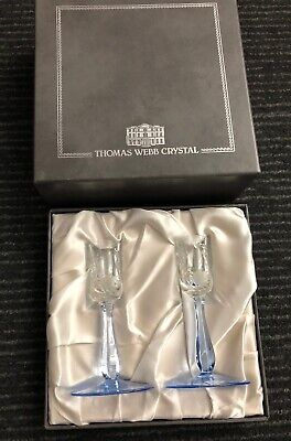 Thomas WEBB - Pair Of Crystal Glasses Blue - Slight Imperfection - Boxed • 20£