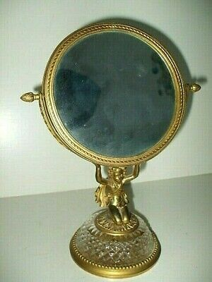 Attributed To Baccarat Crystal & Ormolu Bronze Dore Swing Dressing Table Mirror • 1£