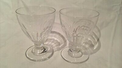 Antique 19thc Two Large Rummer  Drinking Glasses Facet Cut Almost Identical • 34£