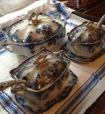 TUNSTALL STAFFORDSHIRE T. RATHBONE & CO BLUE FLOW DINNER SERVICE 27 Pieces • 150£