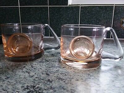 2 Vintage Wedgwood Glass Tankards Pale Orange With Plain Seals • 14.99£